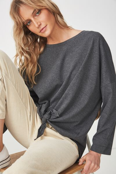 Shelby Oversized Top, DEEP CHARCOAL MARLE