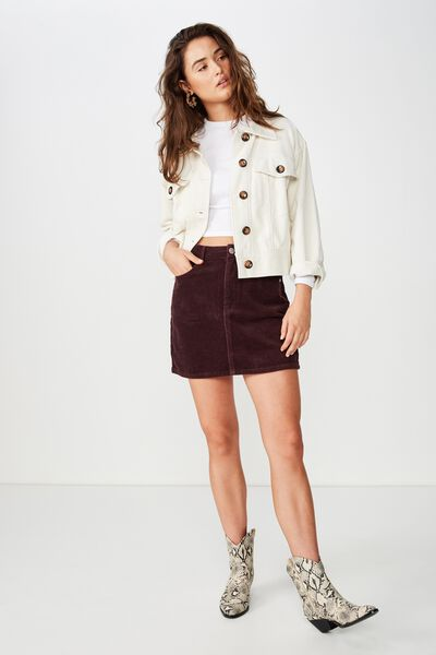 Woven Havana Cord Mini Skirt, FIG