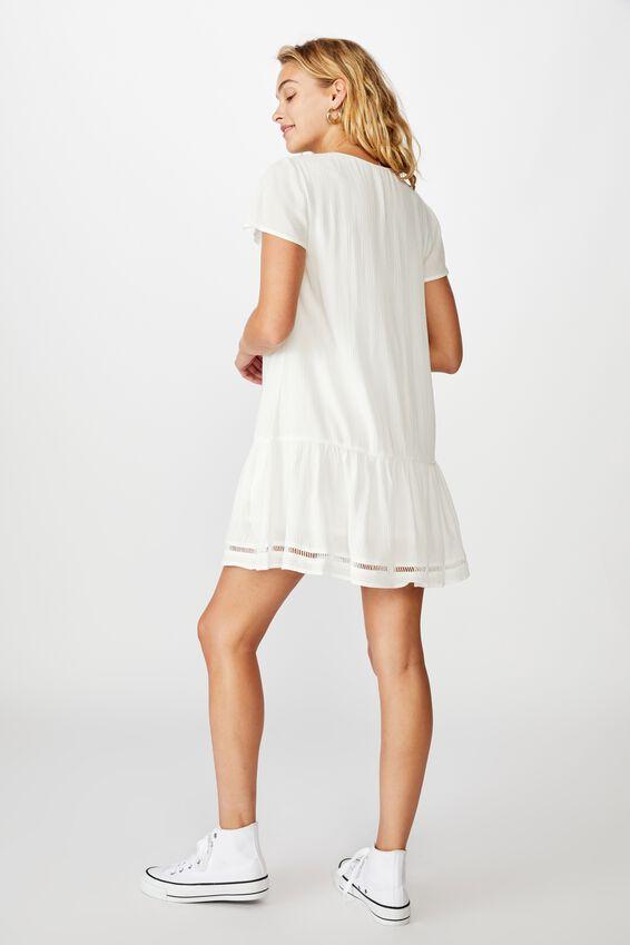 Woven Raakel Button Front Mini Dress, WHITE