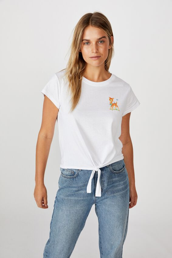 Tie Front Tee, FAWN/WHITE