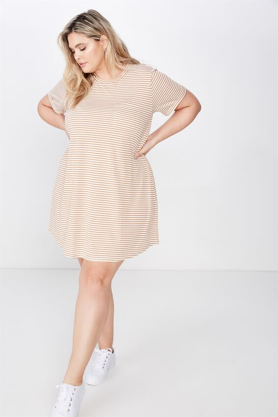 Curve Relaxed Tee Dress, LULU STRIPE GARDENIA LION