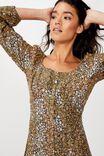 Woven Natasha Square Neck Long Sleeve Mini Dress, MANDY MULTI DITSY EBONY