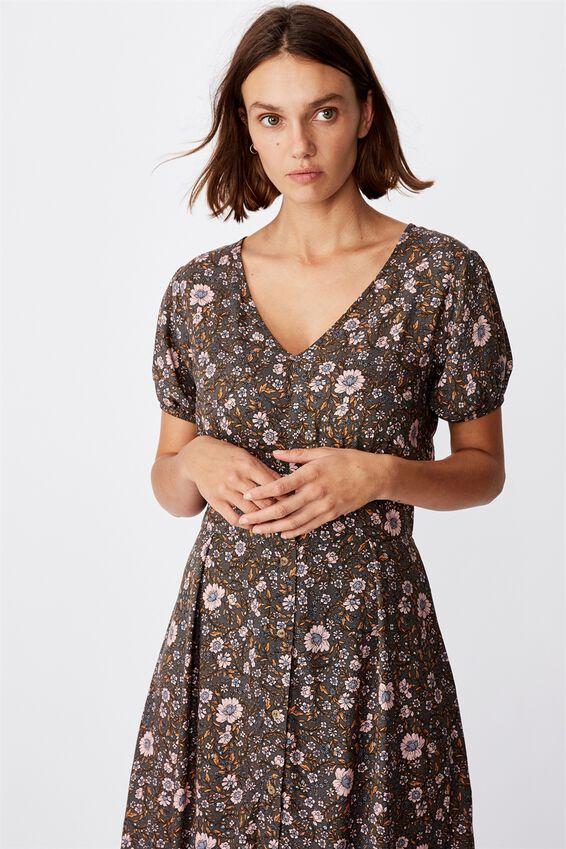 Woven Chloe Puff Sleeve Midi Dress, JORDYN FLORAL RAVEN