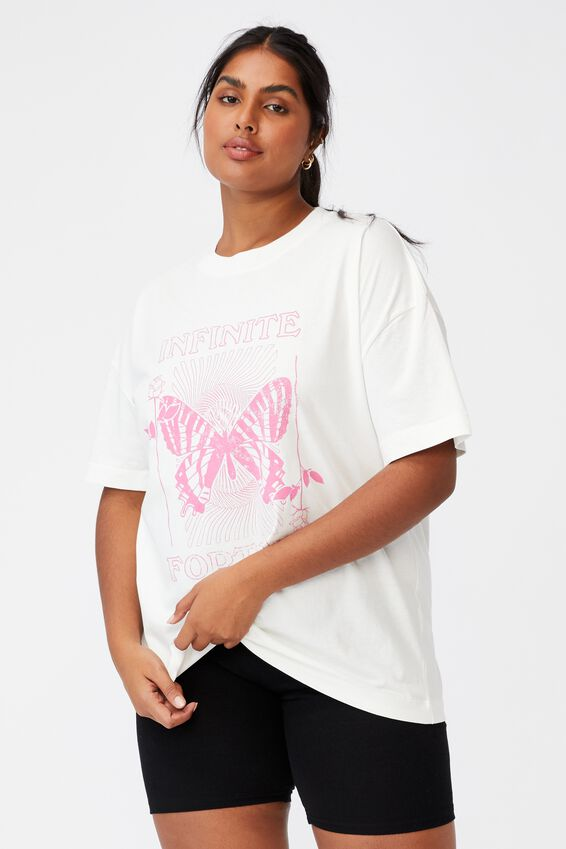 Curve Oversized Graphic Tee, INFINITE FORTUNE/VINTAGE WHITE