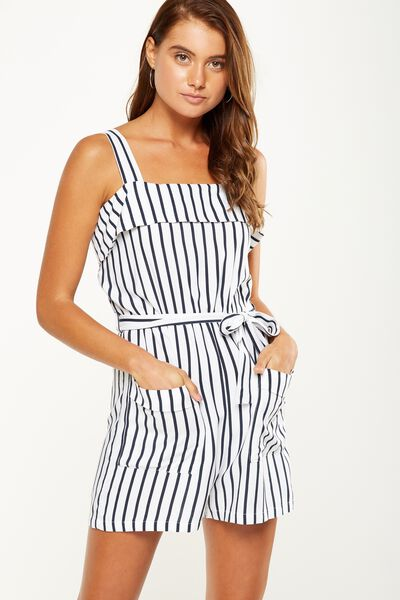 Woven Sally Strappy Playsuit, MIA STRIPE TOTAL ECLIPSE