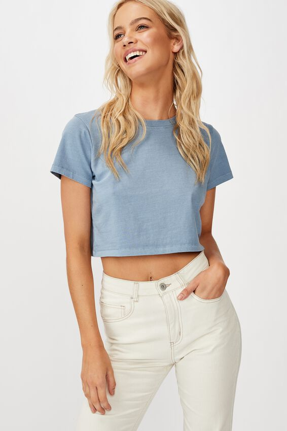 The One Baby Tee, WASHED FADED DENIM