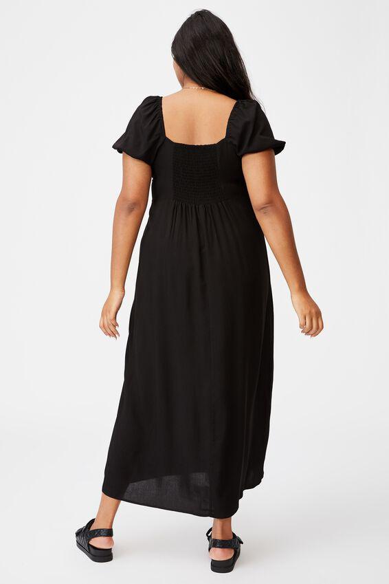 Curve Woven Casey Midi Dress, BLACK