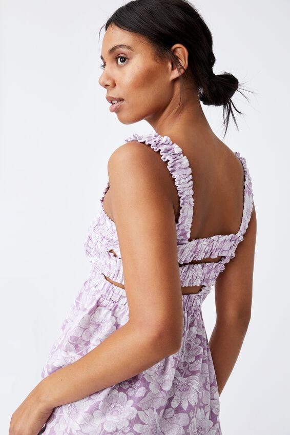 Woven Thea Strappy Open Back Midi Dress, ELENA TROPICAL SOFT MAUVE