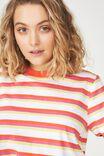 Ivy Short Sleeve Waisted Top, SUMMER MULTI STRIPE WHITE/MANDARIN RED/ROSE VIOLET