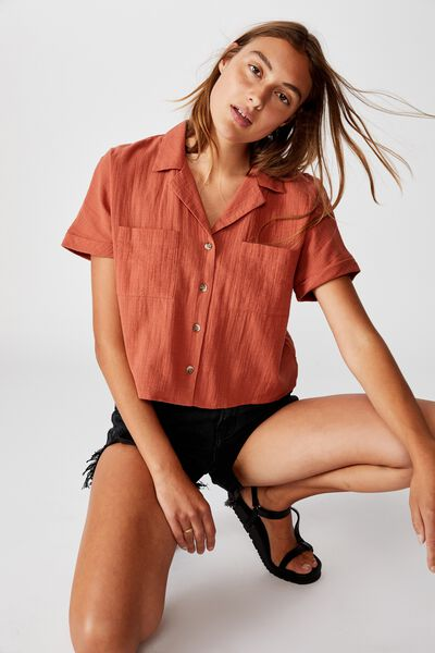 Erika Short Sleeve Shirt, DUSTY BROWN