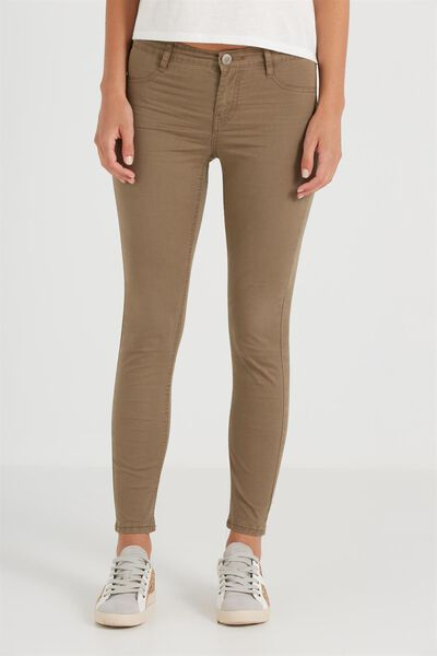 Mid Rise Jegging, SATEEN KHAKI BROWN