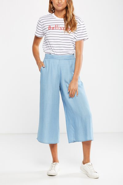 Mid Rise Drapey Culotte Pant, LYOCELL