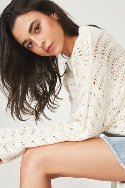 Cropped Pointelle Pullover, CREAM