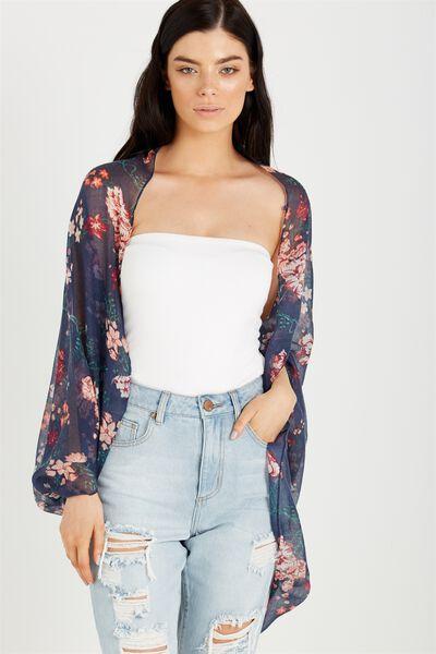 Trixy Cocoon Kimono, TASIA FLORAL MOOD INDIGO