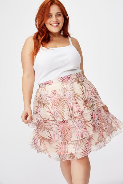 Curve Woven Piper Mini Skirt, TESSA TROPICAL ICY CANTALOPE