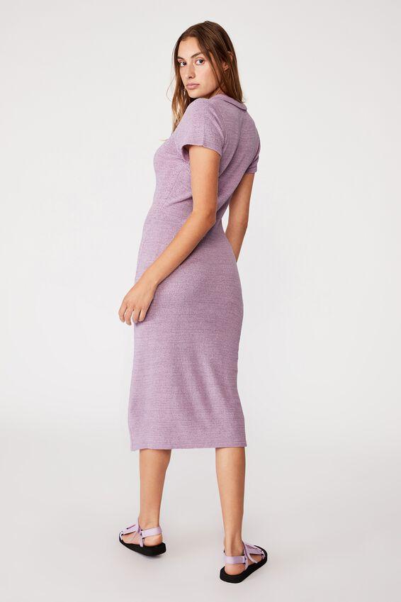 Match Me True Knit Midi Polo Dress, FROSTY LILAC