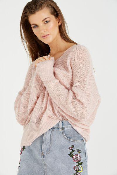 Klara Open Knit Sweater, NUDE PINK