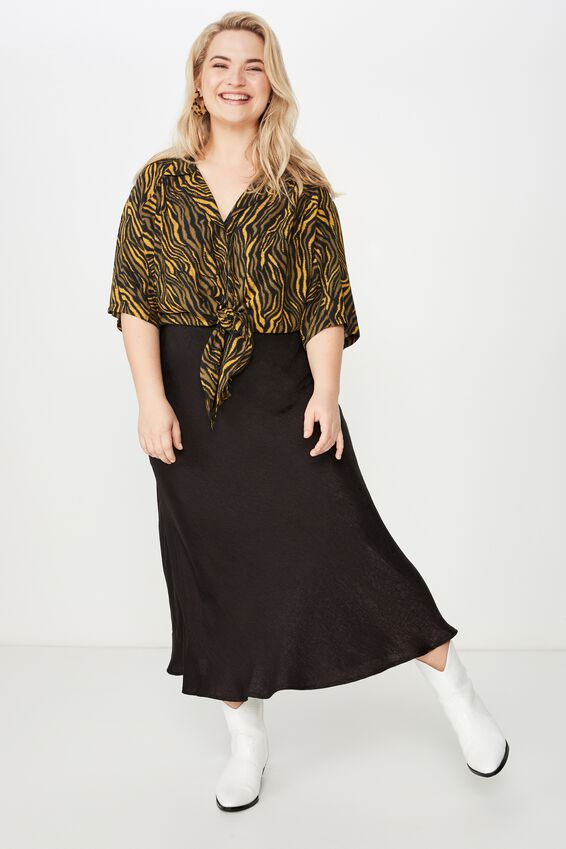 Curve Tie Front Shirt, SARAH ZEBRA OLIVE AND BLACK