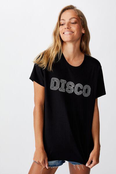 Classic Slogan T Shirt, DISCO/BLACK