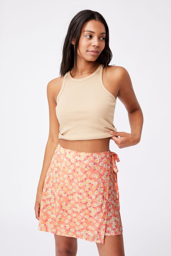 Drew Wrap Mini Skirt, SALLY DAISY PEACH PALM