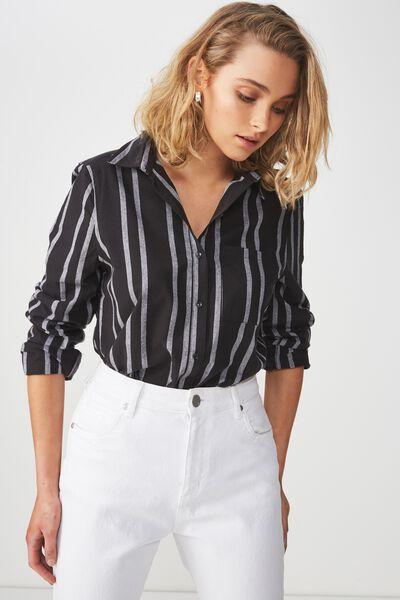 Casual Steph Shirt, SALMA STRIPE BLACK