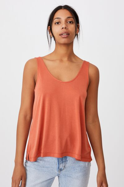 Tia Scooped High Low Tank, RED CLAY