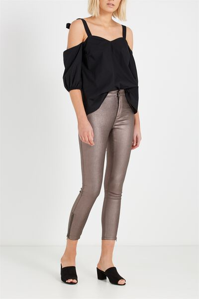 Mid Rise Deluxe Skinny Jean-Coated, IGGY ZIPS METALIC PEWTER