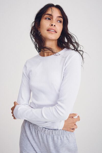 The Turn Back Long Sleeve Top, WHITE