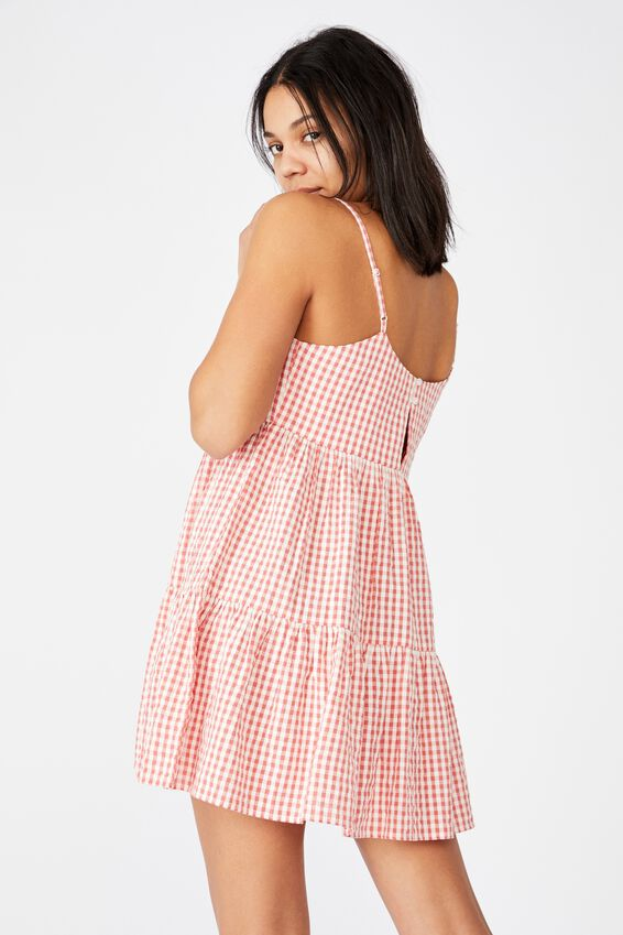 Woven Birdie Tiered Mini Dress, RORY GINGHAM FADED ROSE