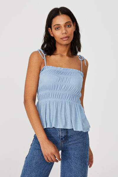 Babydoll Longline Cami, AUTHENTIC BLUE