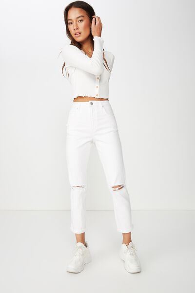High Rise 90S Stretch Jean 2, WHITE RIPS
