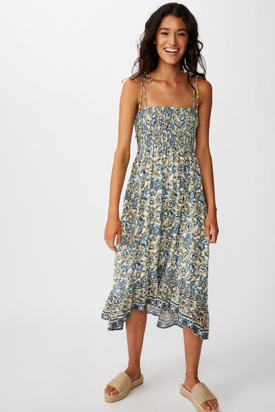 Woven Hayley Hi- Low Strappy Midi Dress, SUNDAY FLORAL BORDER NEO MINT