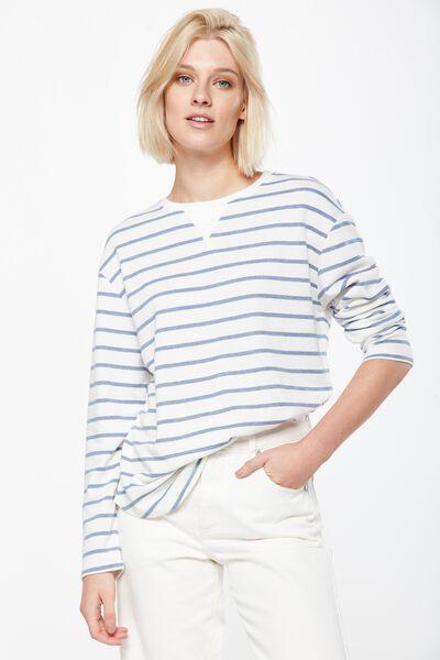 Gomez Light Weight Sweater, GERI STRIPE GARDENIA/ CADET BLUE MARLE