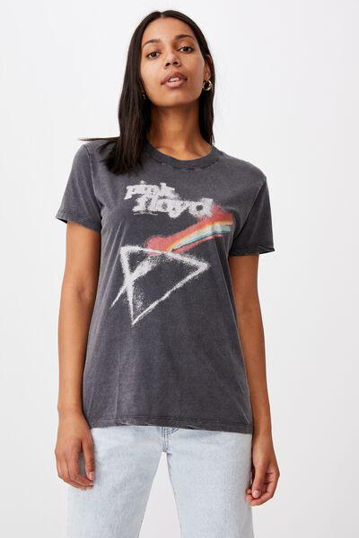 Classic Pink Floyd T Shirt, LCN PER PINK FLOYD SOFT RAINBOW/BLACK