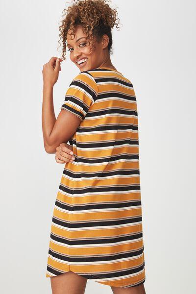 Tina Tshirt Dress 2, CAMILA STRIPE INCA GOLD