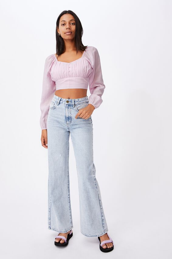Sage Sweetheart Long Sleeve Cropped Blouse, SOFT ORCHID