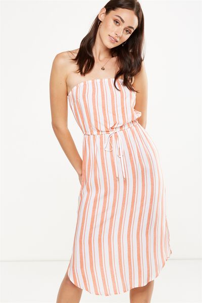 Woven Bindy Bandeau Midi Dress, CHLOE STRIPE SUNBAKED