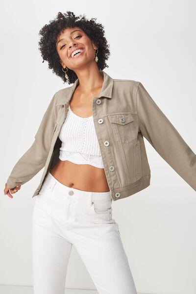 Girlfriend Fashion Denim Jacket, SILVER SAGE