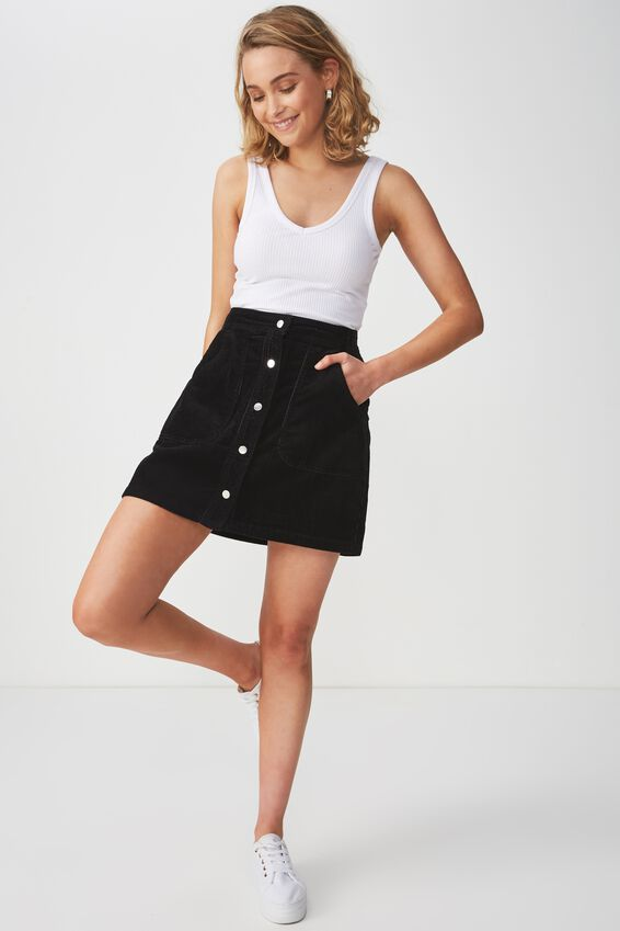 A Line Cord Mini Skirt, BLACK