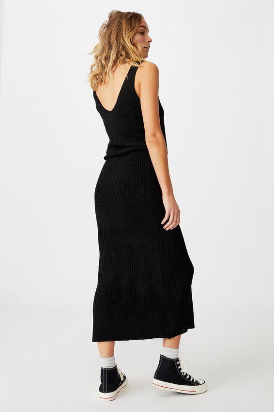 Match Me Knit Midi Skirt, BLACK