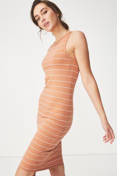 Lena Midi Dress, SAXXY STRIPE SAHARA/WHITE