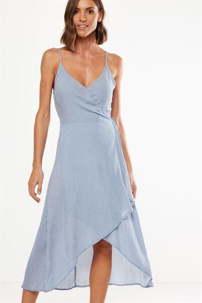 Woven Lucia Strappy Wrap Midi Dress, ISLA PINSTRIPE CADET BLUE