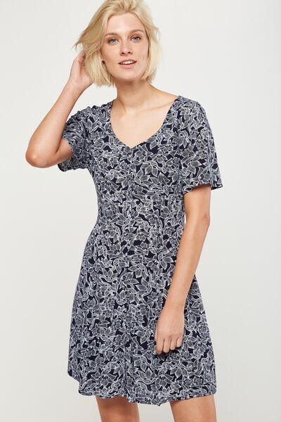 Woven Tonia Short Sleeve Tea Dress, HANNA FLORAL MOONLIGHT