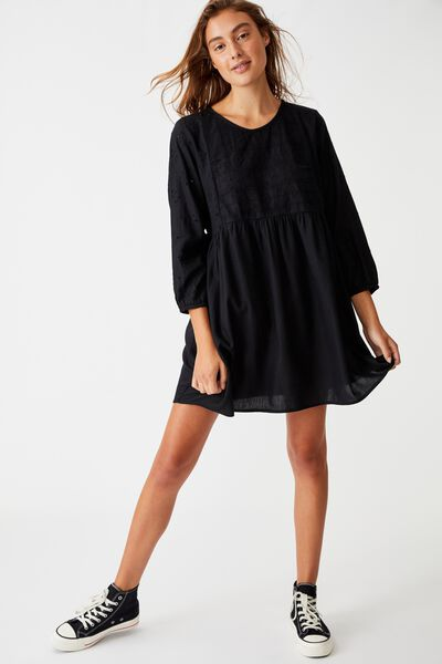 Woven Bethany Broiderie Babydoll Mini Dress, BLACK
