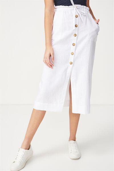 Woven Molly Button Through Midi Skirt, WHITE