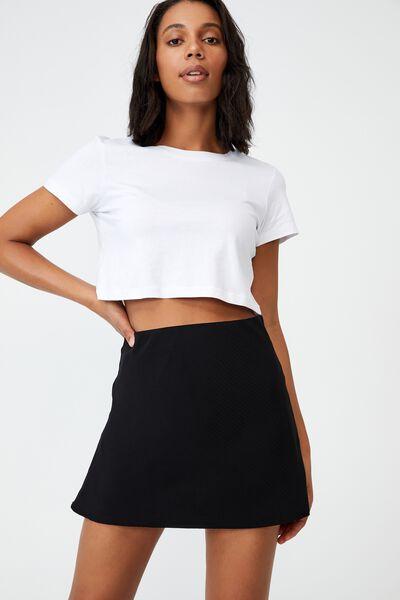 Woven Kaity Slip Mini Skirt, BLACK