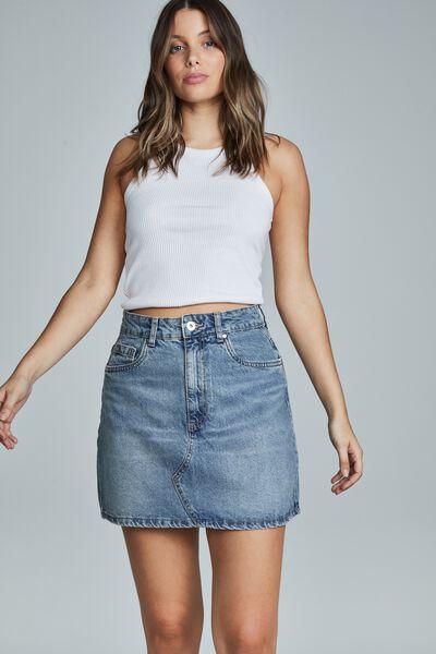 The Classic Denim Skirt, BRUNSWICK BLUE