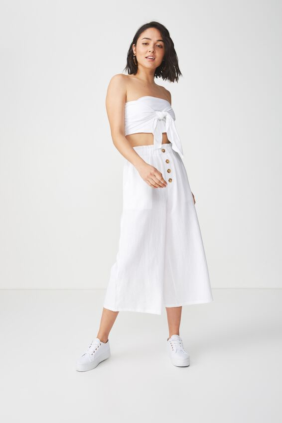 High Waist Culotte, WHITE BUTTON