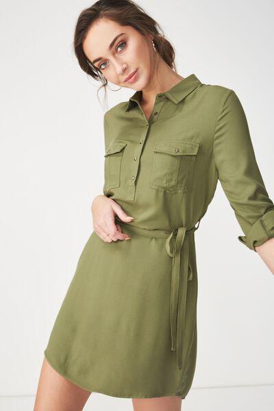 Woven Tammy Long Sleeve Shirt Dress, SOFT KHAKI