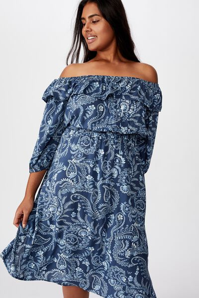 Curve Wella Off The Shoulder Dress, CALI PAISLEY MOOD INDIGO